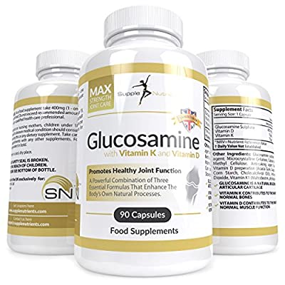 Supple Nutrients - Glucosamine with Vitamin K and Vitamin D - Joint Supplement and Anti Inflammatory Arthritis Aid - Natural Joint Care, Supports Bone Health and Muscle Strength, Aids Relief from Pain and Swelling of Joints, Elbow, Neck and Ankle
