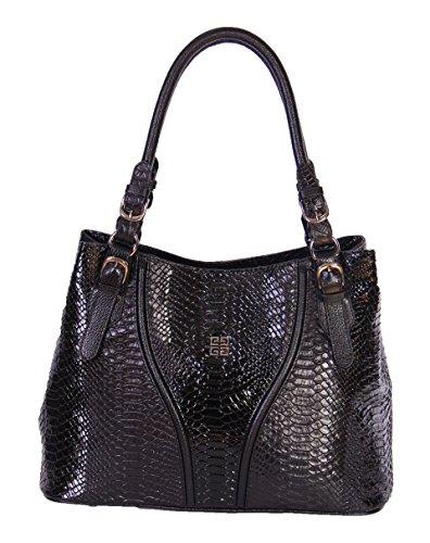 Finest Qualité des femmes en cuir véritable sac à main NEE Noir Croc Imprimer designer Fashion