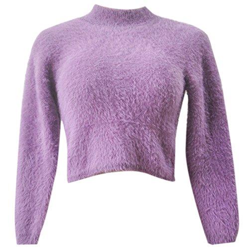 QIYUN.Z Femmes Manches Longues Chandails Haut Du Cou Plushed Pull En Tricot Style Court Violet
