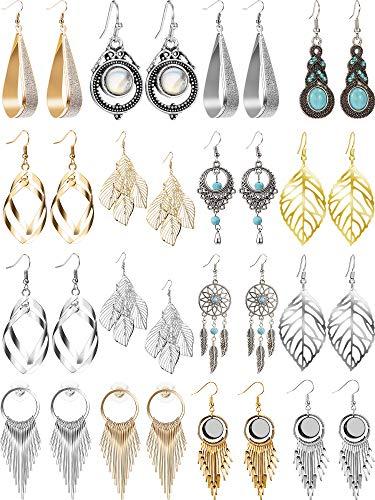 Conjunto de 16 Pares Pendientes Bohos Llamativas de Colgante de Gota Exagerado Pendientes de Gota de Estilo Plata Oro para Mujeres, Niñas