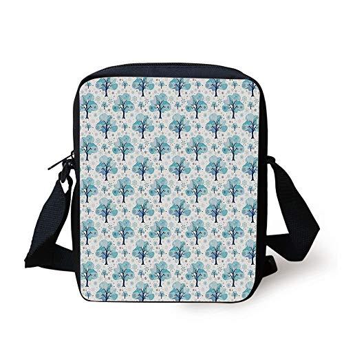 Winter,Tree Silhouettes with Various Snowflake Figures Gentle Seasonal Mix Christmas Theme,Blue White Print Kids Crossbody Messenger Bag Purse