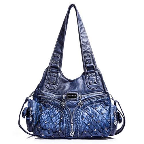 Top Lederhandtaschen Litchi Grain Damen Handtaschen Schultertaschen Messenger Bags Composite-Taschen Blue 29X37X12CM -