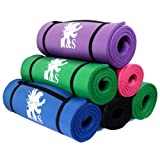 H&S® 15mm & 10mm Thick Yoga Exercise Fitness Gym Mat Pilates Camping Non Slip Bag (Green, 10mm Thick)