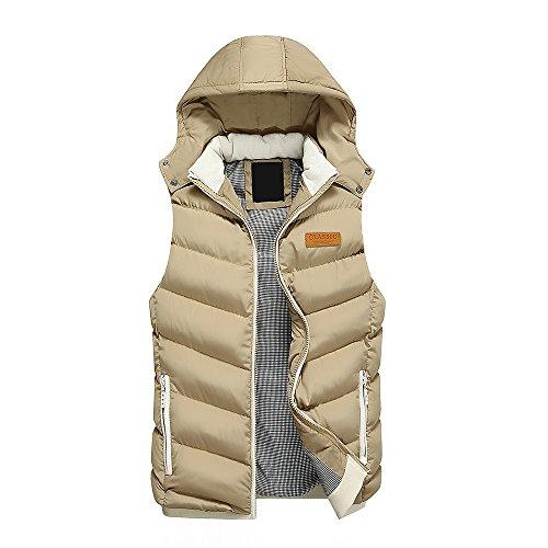 qqer® Doudoune Sans Manches Gilet D'hiver Vêtements De Plein Air Froid 1kaki
