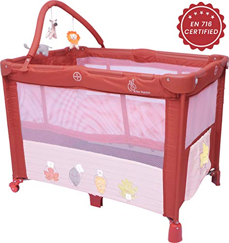 R for Rabbit Hide and Seek- Smart Folding Baby Bed Cum Cot/Crib (Maroon)