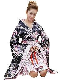 ABBY Anime cosplay costume japonais cerise kimono jeu de rôle Kimono Japonais en Satin Sexy Robe de Femme
