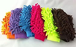 tidy Set of 6 Double Sided Microfiber Wash Mitt Gloves Multipurpose House Car Glass LCD Cleaning
