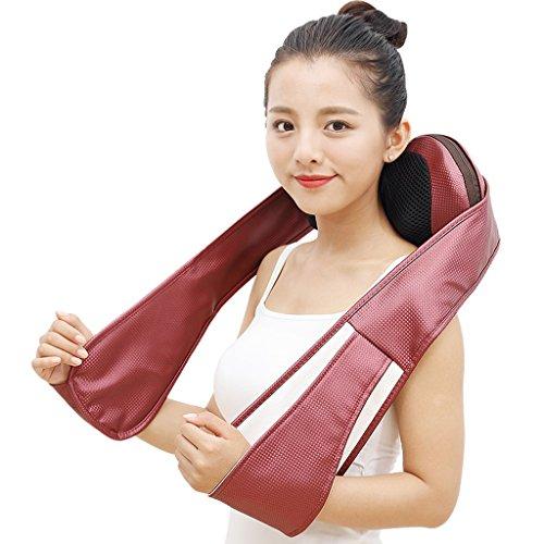 QIHANGCHEPIN Nackenmassagegerät Shiatsu Rücken Schulter-Massagegerät, tragbare 3D-Tiefenwärme Kneten Massagegerät, einstellbare Stärke und Massagekissen für Reisen Home Office (Rose Red)