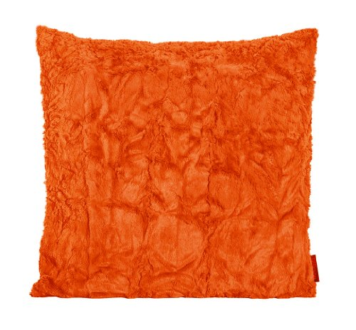 Fluffy Kissenhülle ca. 50 x 50 cm kuschelweicher Plüsch in Felloptik (42 Orange) 1 Stück