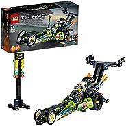 LEGO 42103 Technic Dragster Rennauto oder Hot Road, 2-in-1 Set mit Rückziehmotor, Sammlung von Dragster Rennfa