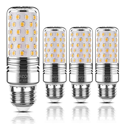 Yiizon LED M Glühbirne, E27, 15W, entspricht 120 W Glühlampe, 3000 K Warmweiß, 1500LM, CRI>80 +, kleine Edison-Schraube, nicht dimmbar Kandelaber LED Glühlampen(4 PCS) (Natürlichen Mais-chips Alle)