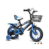 Kinderfahrräder Kinderfahrräder 2-3-4-6-7-8 Jahre alt Baby 12-14-16-18 Zoll Kinderwagen 3C Zertifizierung Kind Auto (Color : Blue, Size : 12 inches)