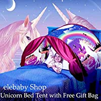 elebaby Deluxe Kids Bed Tent Unicorn Fantasy Funny Play Tent Pop-up Tent Indoor Foldable Playhouse Bedroom Decoration with GIFT Drawstring Bag