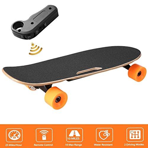 BISOZER Elektro-Skateboard, 24V 200W hub-Motor Kabelloser Fernbedienung e-Skateboard, Tragbar Cruiser Skate Board für Riders, Kinder- und Erwachsene
