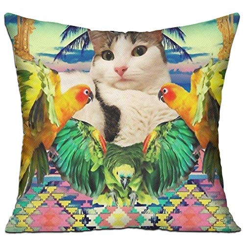 Naiyin Cotton Throw Pillow Cases,Cat Pineapple and Tuca Bird,Pillow Covers Decorative 18X18 in Pillowcase Cushion Covers with