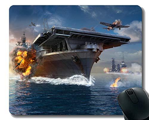 Flugzeugträger Kostüm - Mauspad mit genähtem Rand, Kriegsschiff Schlachtschiff Welt Ozean Flugzeug Mauspad, Rutschfeste Gummibasis Mousepad