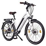 "NCM Milano Plus 48V, 26"" Zoll Damen & Herren Urban E-Bike, 250W Das-Kit Heckmotor, 14Ah 672Wh Panasonic Li-Ion Zellen Akku, hydraulische Scheibenbremsen, 8 Gang Shimano Schaltung, Weiß"