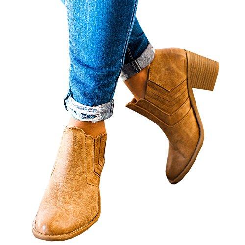 Botines Mujer Tacón Medio, Chelsea Piel Elásticos 5 Cm Zapatos De Botas Comodos Fiesta Vintage Marrón 39