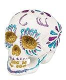 Dekoration Totenkopf Glitter Sugar Skull weiß taglia unica Bianco