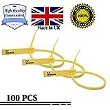 Etichette di sicurezza numerate, fabbricate nel Regno Unito, di alta qualità, con sigilli di sicurezza, fascette in plastica 100 yellow