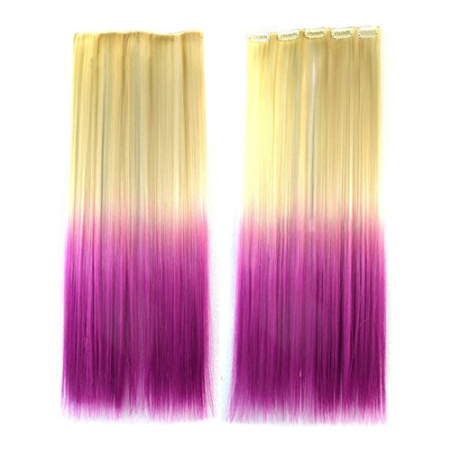 Extensions de cheveux droits - SODIAL(R) 55CM Extensions de cheveux Perruques Cosplay Mode piece des cheveux Beige + Violet