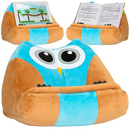 Cojín para lectura Infantil / Soporte para libros infantiles, ipad y tablets / Atril de lectura de peluche extra suave y divertido | Regalo de Navidad 2019o cumpleaños original para niños y niñas