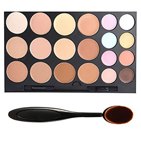 tinabless 20 Colour Makeup Concealer Kits Camouflage Palette MAQUILLAGE Full Coverage Concealers + Toothbrush ovale Brush by tinabless