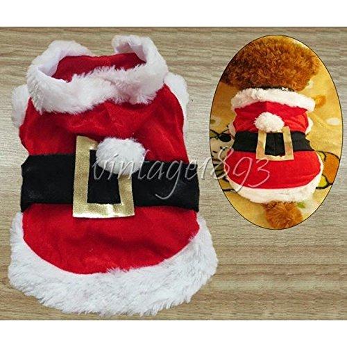 nalmatoionme Little Puppy Hoodie Dog Cute Santa Kostüm Outfit Weihnachten Dekoration Geschenk Größe S