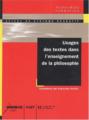 Usages des textes dans l'enseignement de la philosophie