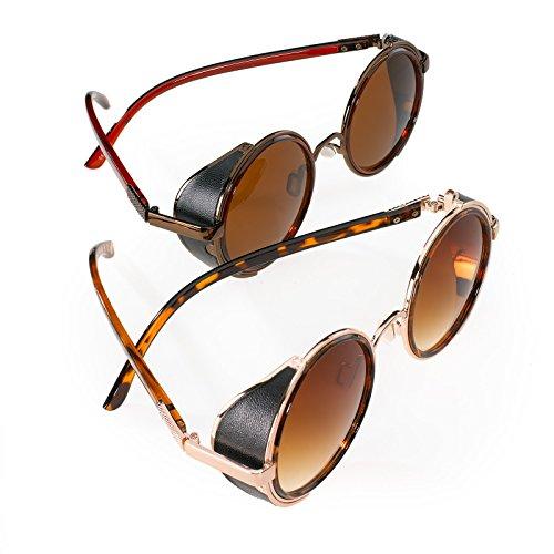 2er SET Sonnenbrille Cyber Herren Damen Spiegel Round Sunglasses Victorian Goth Steampunk Romens Ltd (2 Pair Set 2) Cyber Goth
