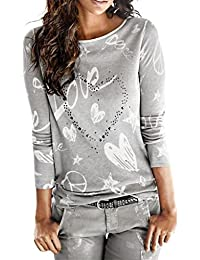 1a33e0a62 Camisa de Mujer Manga Larga O-Cuello Carta Impreso Algodón Casual Suelto  Blusa Tops Camiseta