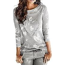 f579f7da3 Camisa de Mujer Manga Larga O-Cuello Carta Impreso Algodón Casual Suelto  Blusa Tops Camiseta