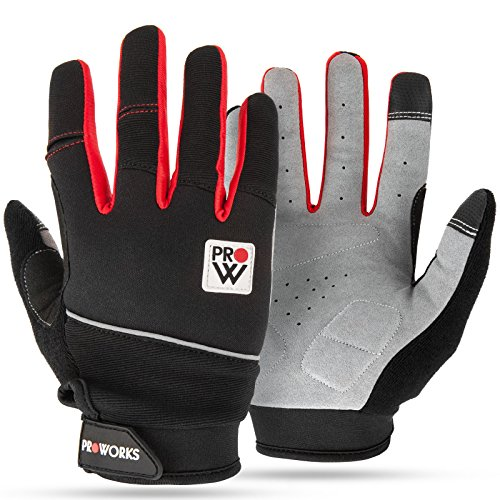 Padded Cycling Gloves, by Proworks [Touchscreen Compatible] for Road Bike, Mountain Biking, Racing & BMX - Unisex - Black & Red - Medium