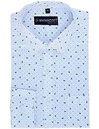 SWISSCOTT Men's 100% Cotton White Print Slim Fit Formal Shirts (Print Design 5)