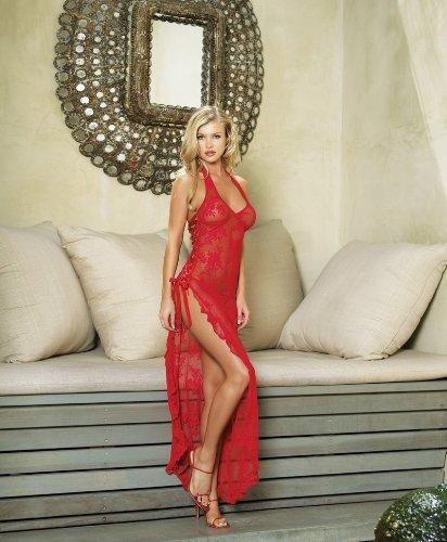 spanisch Rose Spitze langes Kleid - Einheitsgröße - rot (Spanisch-spitze-lange Kleid)