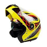 LL Motorrad-Voll-Face-Helm Outdoor-Elektroauto-Helm Volldeckel-Doppel-Objektiv,Yellow,M