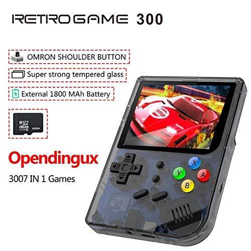 Anbernic 2019 Upgrade für Linux Tony System Handheld Spielekonsole, Retro Spielekonsole mit 32G TF Karte, 3007 Classic Games, tragbare Videospielekonsole mit 3 Zoll Bildschirm (Schwarz)