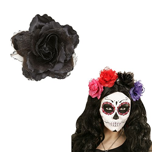 Ansteckblume Rose Rosen Haarschmuck schwarz Rosenblüte Haarspange Blumen Haarblüte Kopfschmuck Haarblume Blumenspange Haar Clip