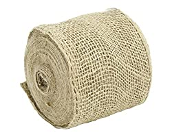 Kel-Toy Burlap Ribbon with Woven Wired Edge, 4 x 10 yd, Natural