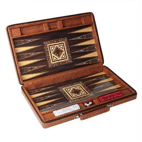 Star VIP Brettspiele Lederetui mit Reißverschluss Elite Luxus Backgammon – Medium