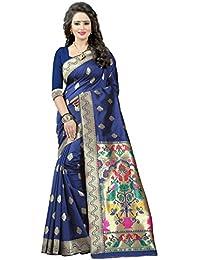 Shree Sanskruti Women's Tassar Silk Saree with Blouse Piece (Nevy Blue_Free Size)