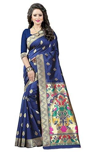 Shree Sanskruti Women's Tussar Silk Saree With Blouse Piece (Paithani 2 Nevy...