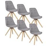 WOLTU® Lot de 6 Chaises de Cuisine BH54gr-6 chaises de Salle à Manger siège en Lin,Gris