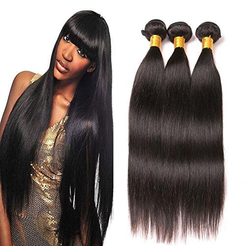 Dai Weier Tissage Bresilien en Lot 3 Bundles Cheveux Humain Vierge Remi Human Hair Meche Bresilienne Lisse Naturel Human Hair Noir 8 10 12 pouces