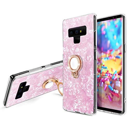 WATACHE Galaxy Note 9 Hüllen, Seashell-Muster-weicher TPU Schock-Absorption Kristallstoßfall mit Funkeln-Diamant-360 Grad-Umdrehungs-Ring-Griff-Ständer für Samsung Galaxy Note 9 (Rosa)