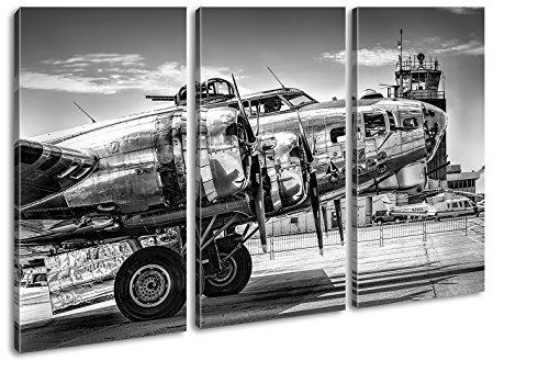 deyoli Silbernes Militär Flugzeug Effekt: Schwarz/Weiß Format: 3-teilig 120x80, Motiv fertig gerahmt auf Echtholzrahmen, Hochwertiger Digitaldruck mit Rahmen, Kein Poster oder Plakat