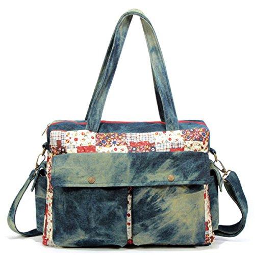 Frau Retro-Mode Tasche Denim Tasche Große Tasche Ethnischen Tuch Umhängetasche Handtasche,A-OneSize (Mode-illustration Textilien)