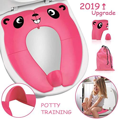 [upgrade version] riduttore water bambini - rightwell portatile pieghevole per wc viaggio materiale in pp con borsa per il trasporto (rosa)