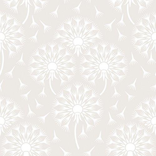 White Light 1717 Metallic Vlies-Tapete Dandelion Pusteblumen 60er Jahre Retro weiß (Hintergrund Jahre 60er)