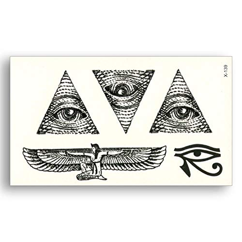 TLKXTX Ägypten Triangle Eye Wings Totem Wassertransfer Fake Tattoos Wasserdicht Temporäre Aufkleber Männlich Weiblich Cool Beauty Body Art